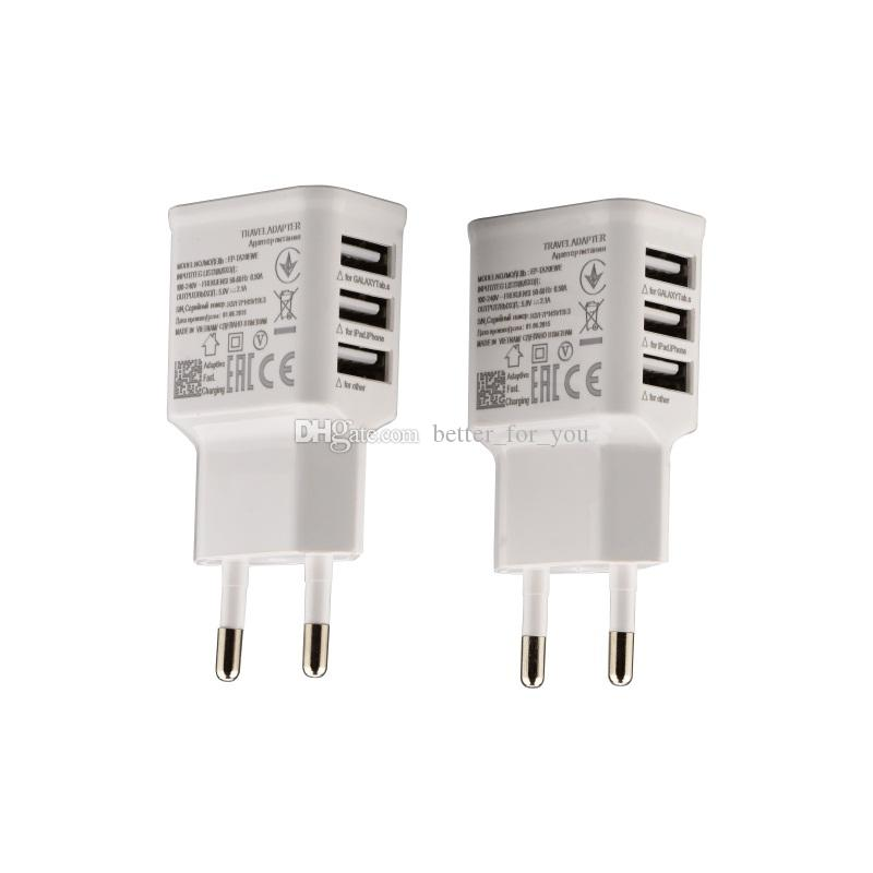 Universal 5V 2A 3 USB Ports EU Plug Wall Charger Adapter For Samsung galaxy i7 iX mobile phone white color 50pcs/lot
