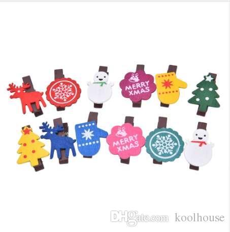 12шт Рождество декор снеговика деревянный клип фото бумаги ремесло DIY клип украшения noel