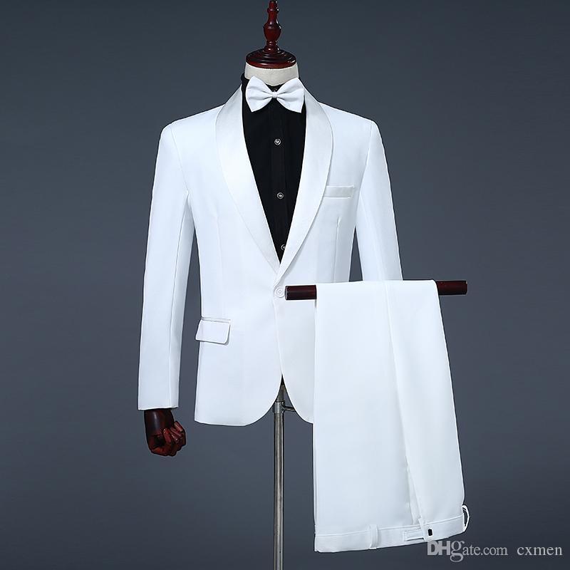 White Men Suit Wedding scialle risvolto su ordine degli smoking dello sposo Uomo bello Blazer Groomsmen Outfits 2Piece (giacca + pantaloni) Costume Homme