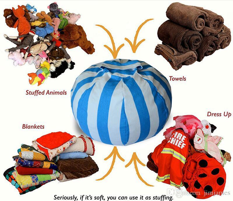 10pcs 43cm Storage Bean Bags Beanbag Chair Kids Bedroom Stuffed Animal Dolls Organizer Plush Toys Buggy Bags Baby Play Mat