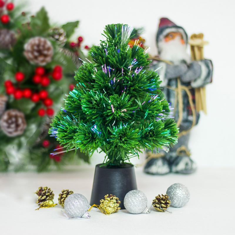 30 см Мини волоконно-оптический настольный USB заряд Рождественская елка Сосна украшение партии украшения дома