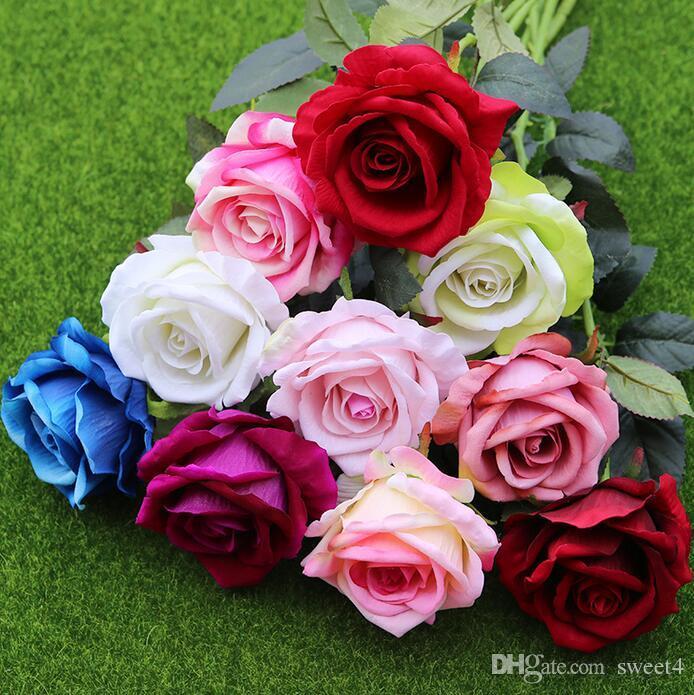 11pcs / lot de la decoración de Rose flores artificiales flores de seda de flores de látex tacto verdadero Rose ramo de la boda del partido Inicio Diseño Flores