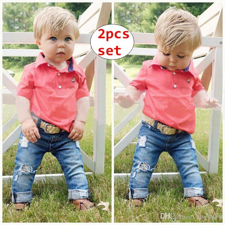 INS Kids moda 2 pcs Conjuntos de bebê de manga curta camisa + calça jeans Outfit Crianças Primavera Outono Roupas Conjuntos