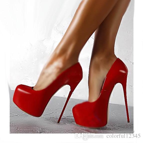 Tacones altos redondos del estilete del dedo del pie bombas de la plataforma Zapatos de boda sexy 16 cm tamaño 35 a 40