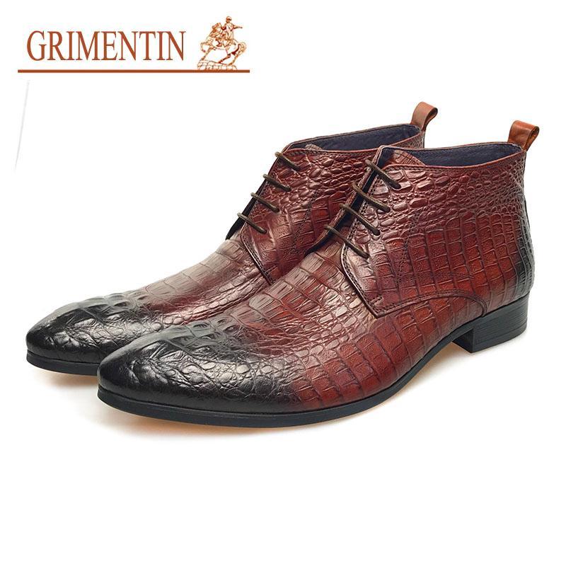 GRIMENTIN hommes bottes chaussures 2017 en cuir véritable marron lacer des chaussures d'affaires de crocodile chaussures formelles