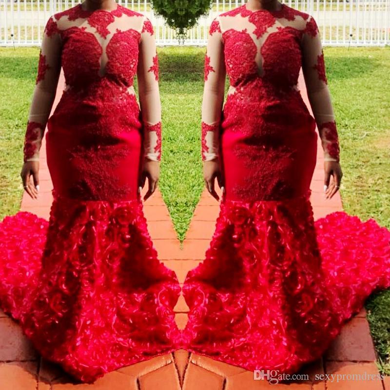 Sirena sudafricana vestidos de baile 2018 apliques de encaje rojo Sheer mangas largas vestidos de noche más tamaño acanalada barrido tren vestido de fiesta formal