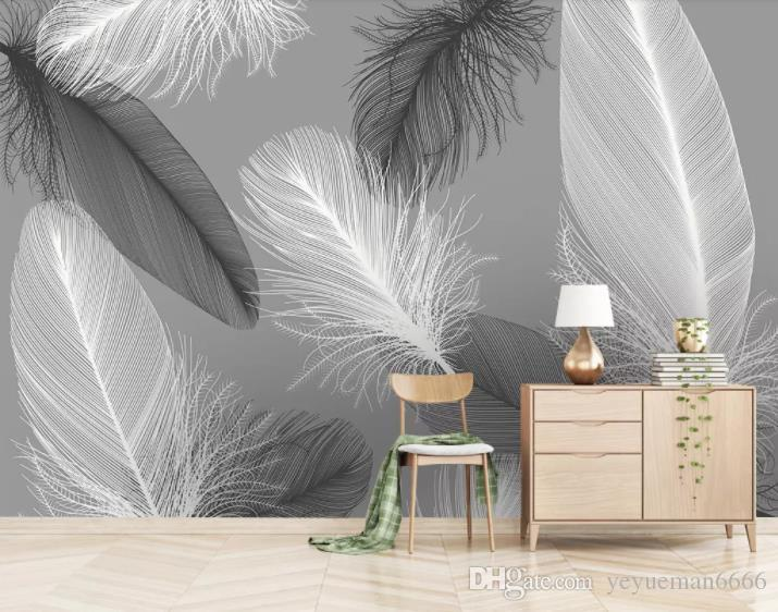 Papel де Parede 3d на заказ Обои Фрески перо 3D обои для стен обоев декора дома 3d стенных росписей
