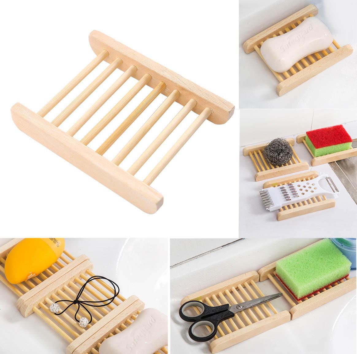 Großhandel Holz Seifenablage Natur Bambus Holz Seife Halter Storage Soap  Rack Teller Geschirrtuch Container Für Bad Dusche Badezimmer Küche Von