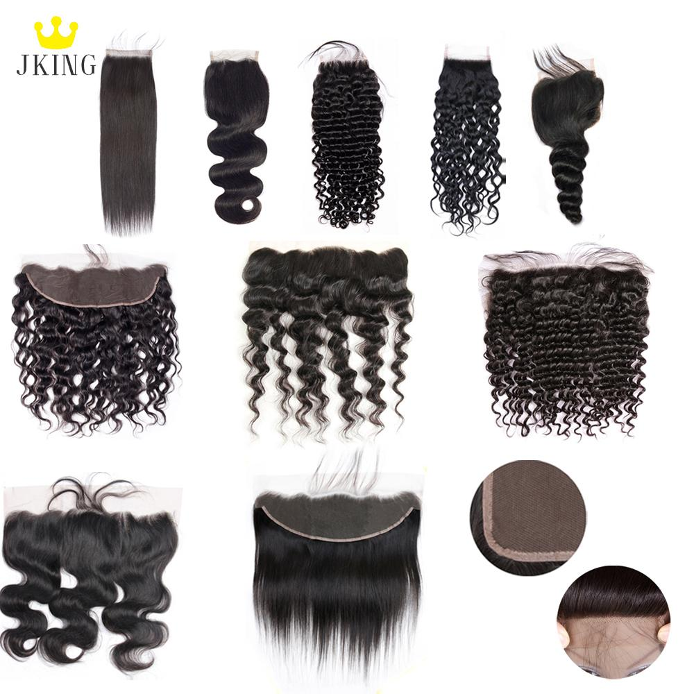 JKING 100% Unprocessed Brazilian Virgin Hair 4x4 Lace Closure /13x4 Lace Frontal Closure 8-20inch Mixed Style Human Hair Weave Extensions