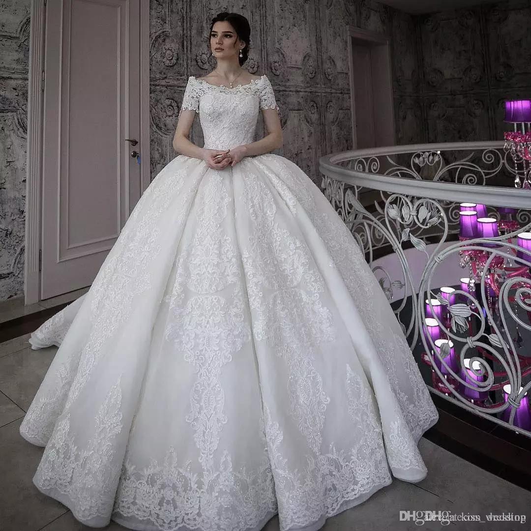 Vintage Lace Ball Gown Wedding Dresses Short Sleeves Off Shoulder Bridal Gowns Appliqued Princess Plus Size Dress vestido de novia Custom