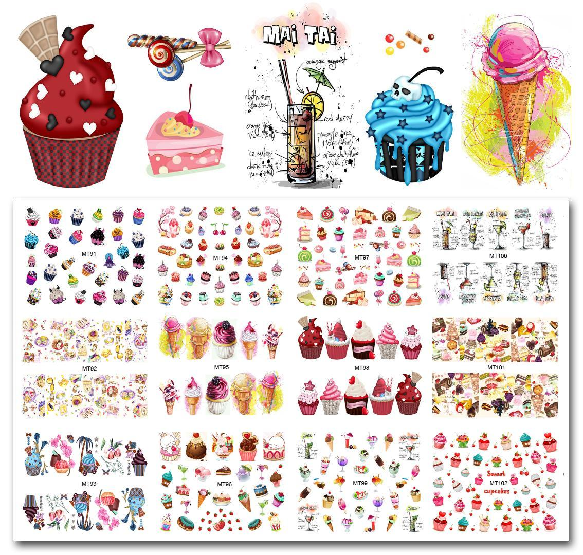 Nail 12 Sheets/Lot MT91-102 Colorful Cake Cool Drink Ice Cream Nail Art Water Decal Sticker For Art Tattoo Decoration