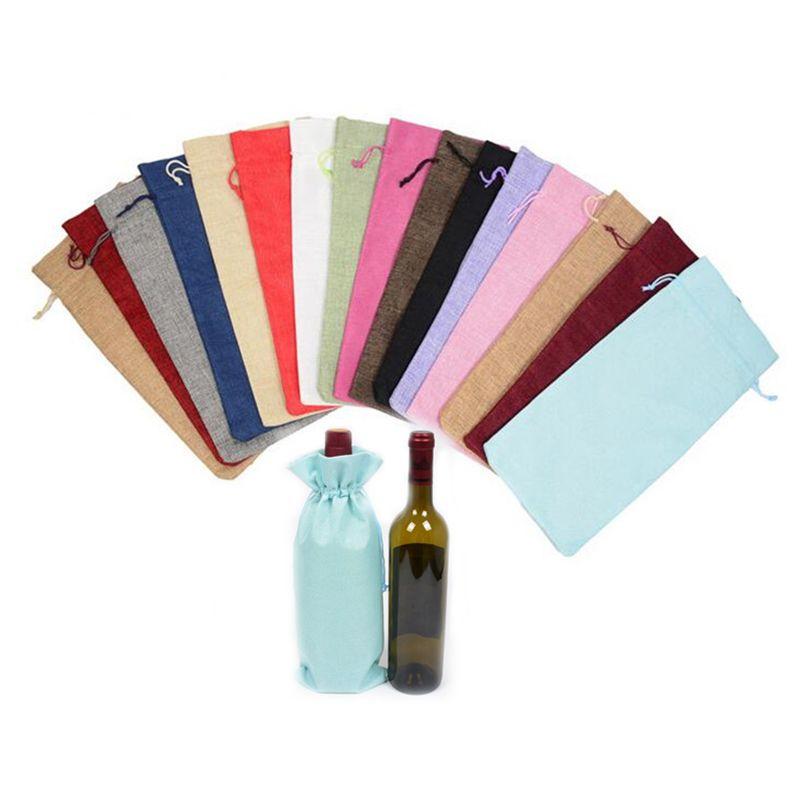 "17 Colors Champagne Wine Bottle Covers Wine Bottle Bags Drawstring Pouch 15cmx35cm(6""x14"") Gift Bag Wedding Festivals Decoration Jute"