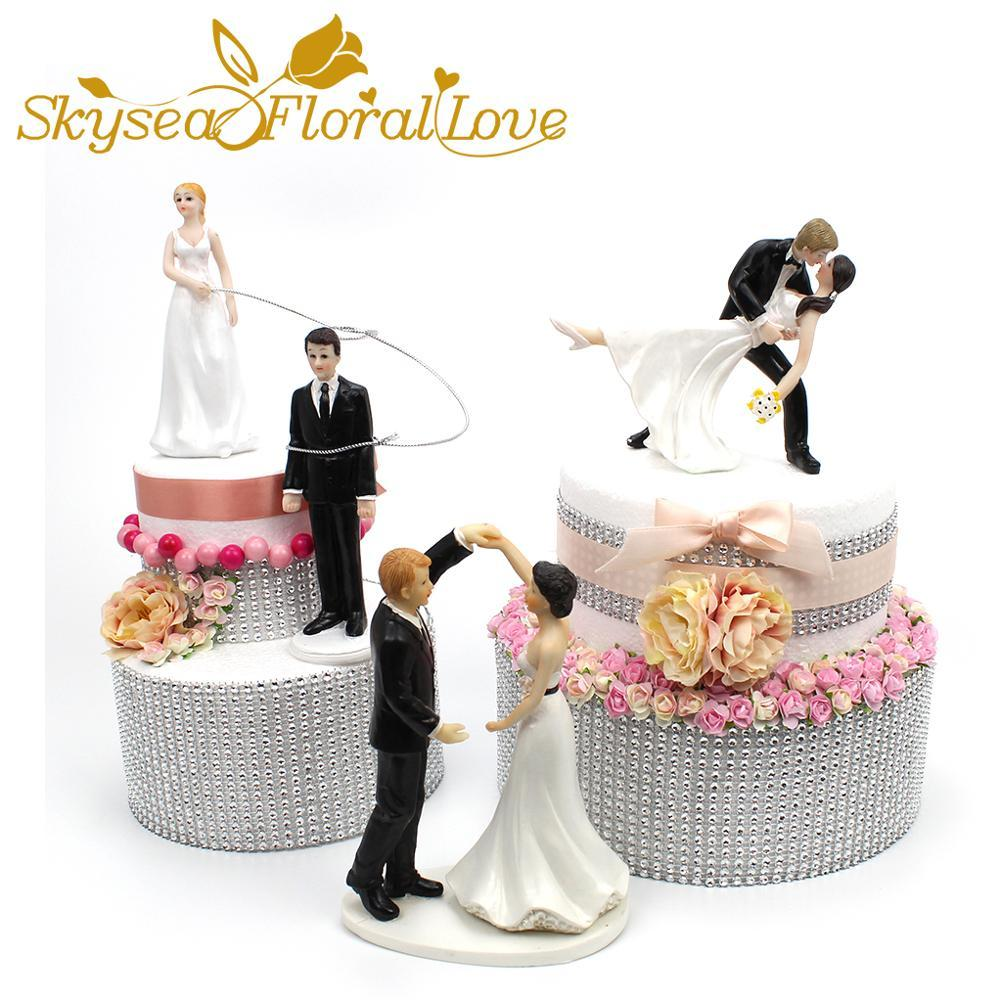 Wedding cake topper bride groom figure romantic love kissing dancing wedding cake decoration event party supplies