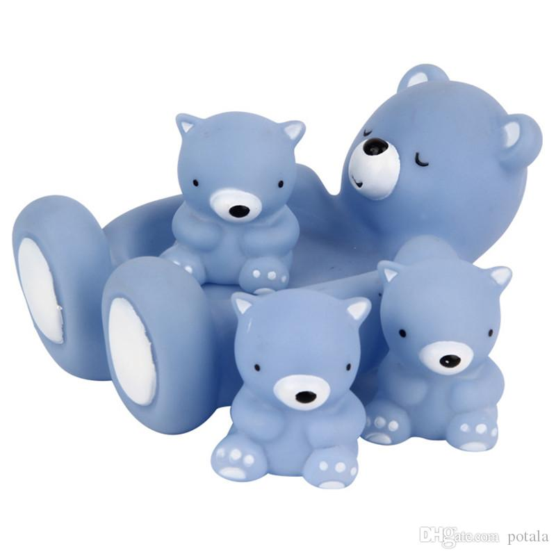 Bath Toys Playmaker Toys Lovely Mummy And Baby Rubber Race Bear Squeaky Ducks Turtle Family Bath Sets(set of 4) Floating Shower Bath Tub Toy