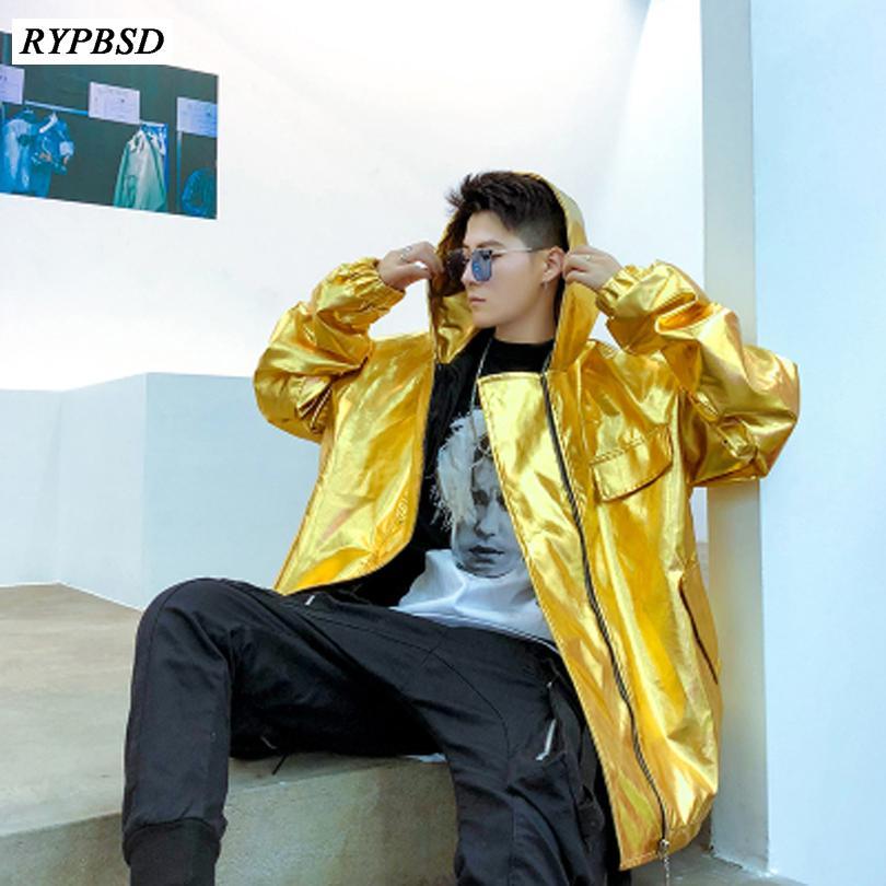 패션 밝은 PU 가죽 망 스포츠 용 재킷 재킷 후드 힙합 Streetwear 폭격기 재킷 남성 나이트 클럽 코트