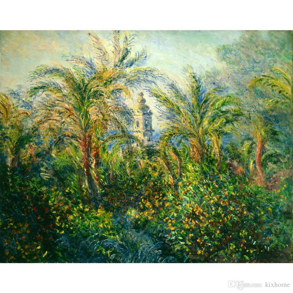 Handgemalte Leinwand Kunst Claude Monet Gemälde Garten in Bordighera, Eindruck des Morgens für Wanddekoration