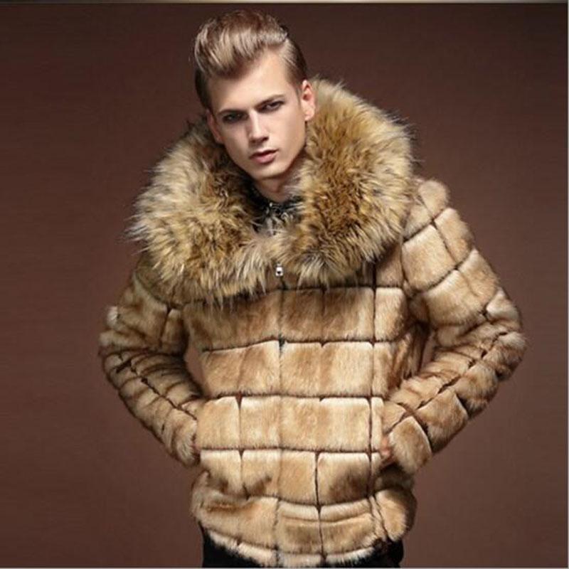 Kaleb Männer Luxus Faux-Pelz-Winter-Big-Pelz-Kragen Slim Fit Short Dick Mantel-beiläufige Jacke Hüftlänge Parka Outwear Overcoat