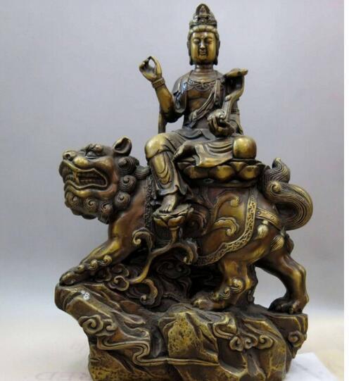 "15 ""chine laiton cuivre Foo Chiens Lion Bouddhisme Bodhisattva Manjusri Statue De Bouddha"