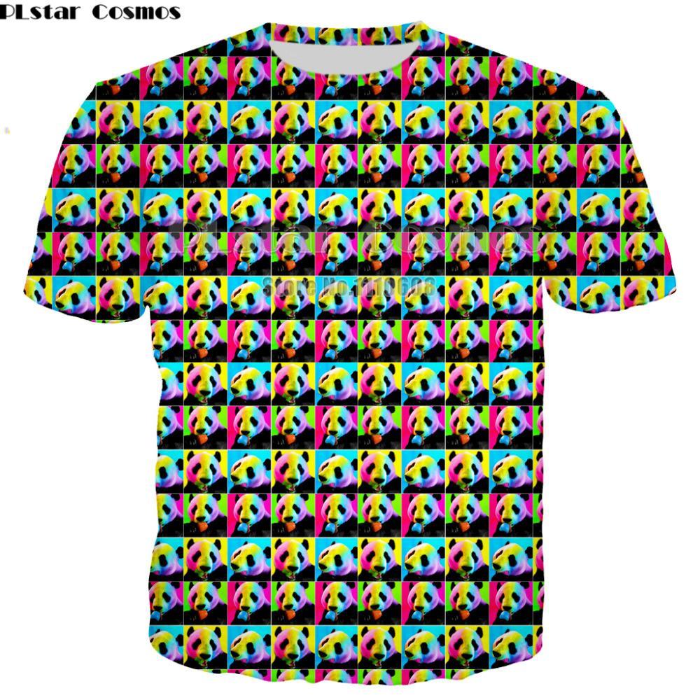 Newest Brand 3D Cute Panda Print colorful Shirt Print Lovers T-shirt Short Sleeve Round Neck men women Tops large size XS-7XL