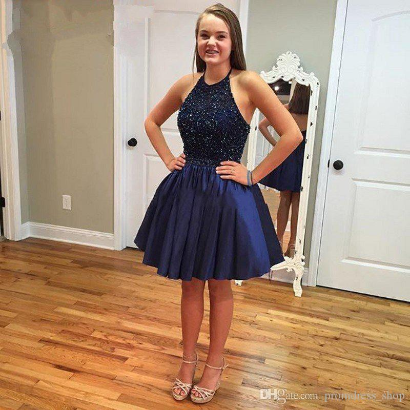 Free Shipping Navy Blue Short Homecoming Dresses Halter Cheap Bead Sweet 16 Ball Gown Beading Short Prom Dress Cocktail Party Gowns Cheap