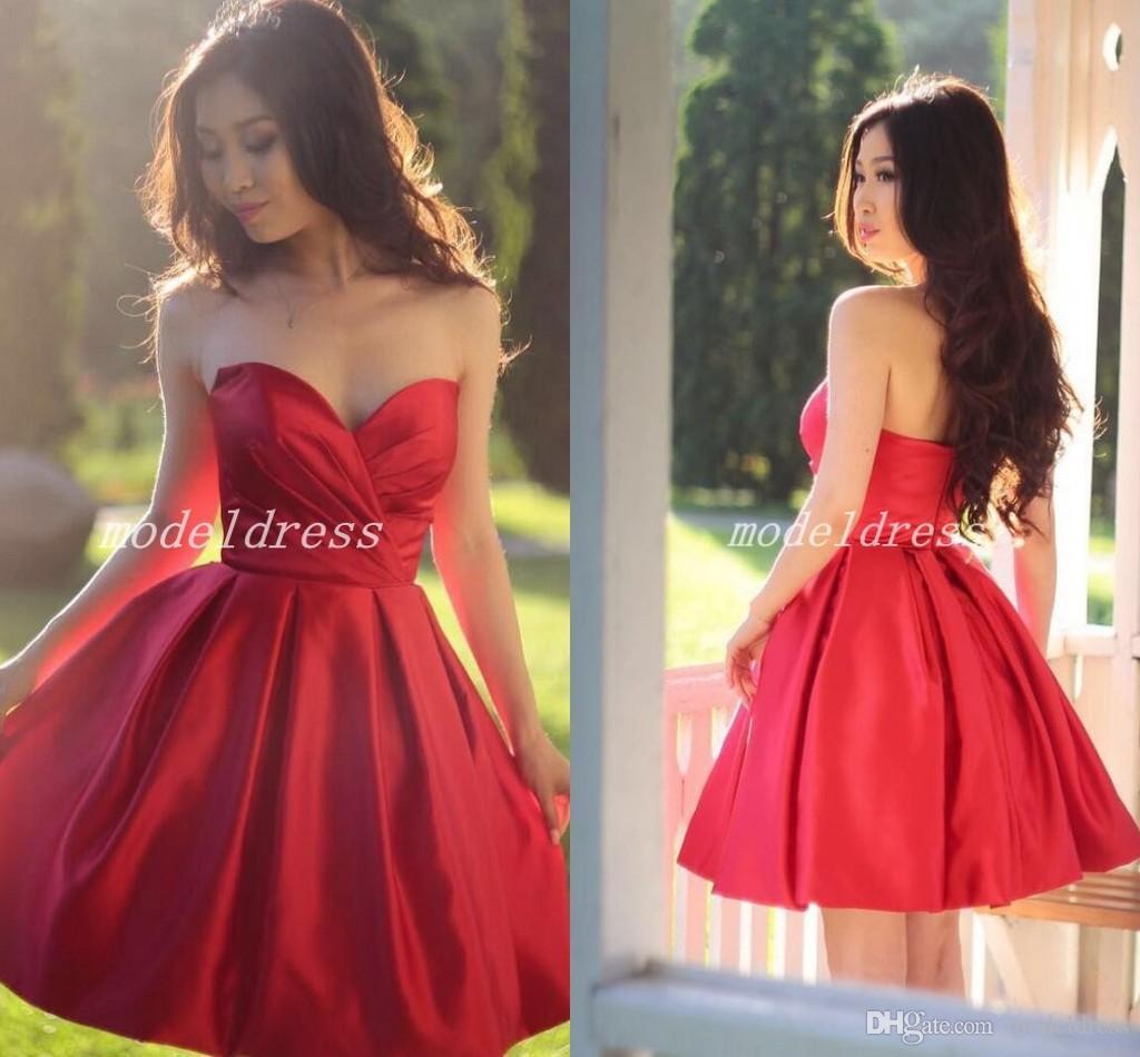 2018 Red Short Bridesmaid Dresses Sweet Heart Backless Draped Garden Country Beach Wedding Guest Gowns vestidos de dama de honor
