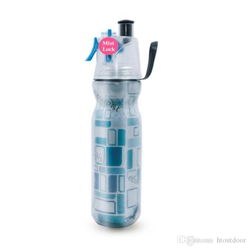 30pcs 590ml Drinking Spraying Bottle Outdoor Camping Gym Sports Double Layer Sip And Mist Spray Water Bottle For Summer Cooling