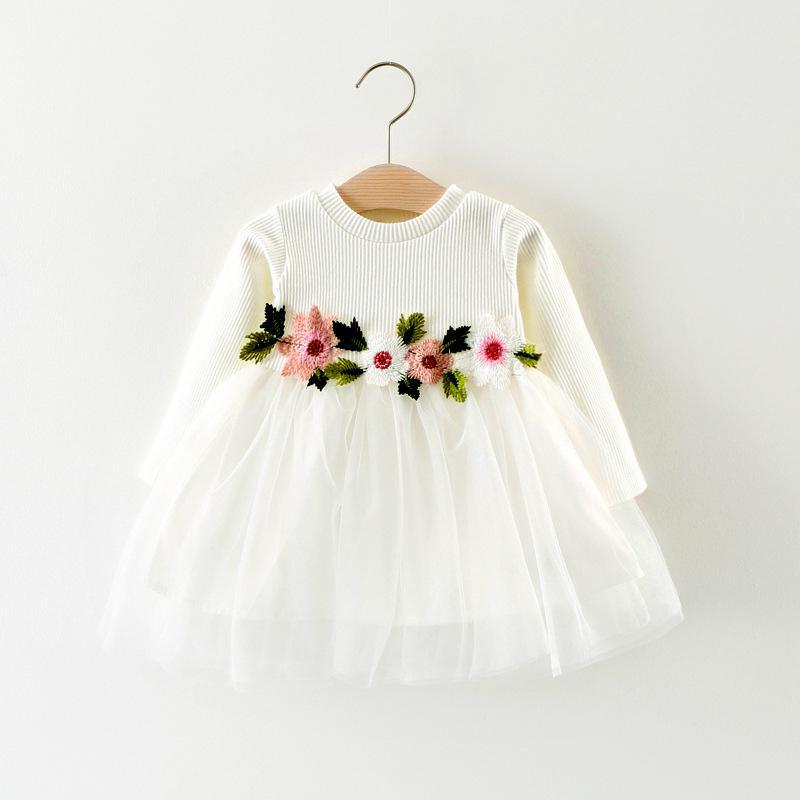 abito fiore ragazze manica lunga del bambino delle neonate vestiti di cotone cuciture colore Abito da principessa
