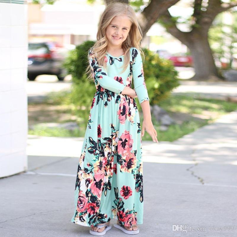 2019 2019 Summer Kids Dresses Children Girls Long Sleeve Floral Princess  Dress Spring Girl Beach Floral Dresses Kids Party Dresses Four Colors From
