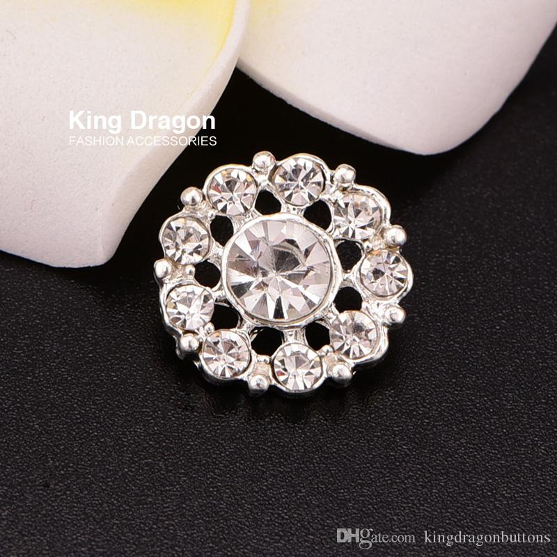 Botão Diamante Cristal Botão de Strass Costurar Na Flor Centro de 15 MM 20 pçs / lote Shank Voltar Cor Prata KD94