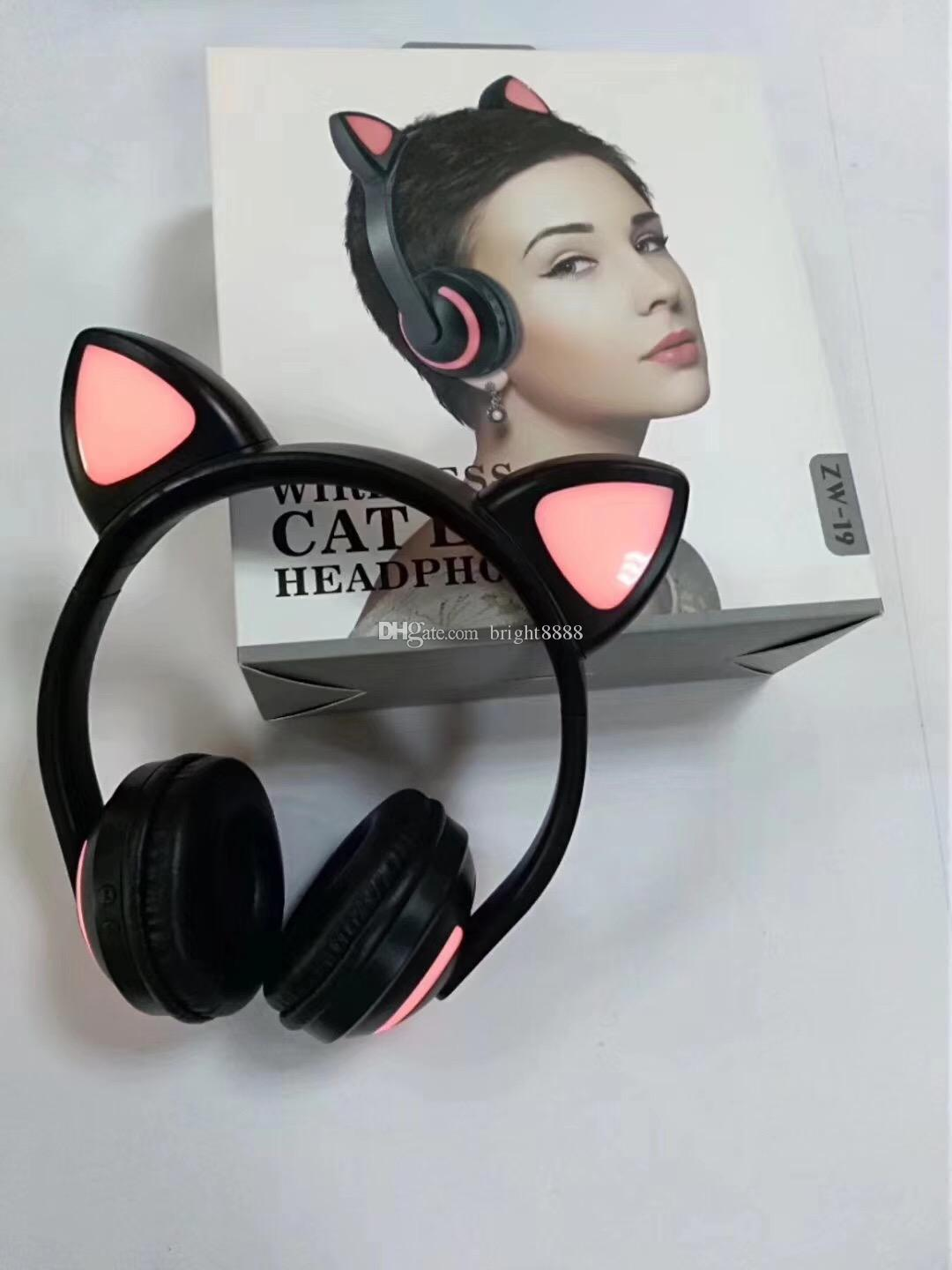 Cat ear little devil head-mounted sports Bluetooth headset Colorful color-changing bluetooth headset