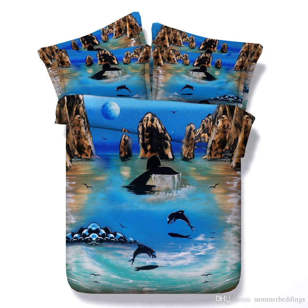 3D dolphin bedding sets queen christmas blue duvet cover single twin king cal king size bedspreads animal bed linens pillow shams for adults