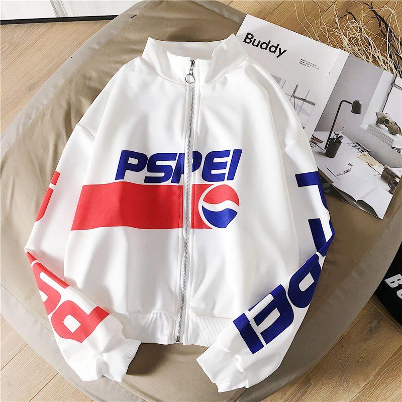Otoño sudaderas letra de la manera de las mujeres de impresión de Harajuku Fleece gruesa ropa suéter Cardigan Escudo Femme Mujer Sudadera