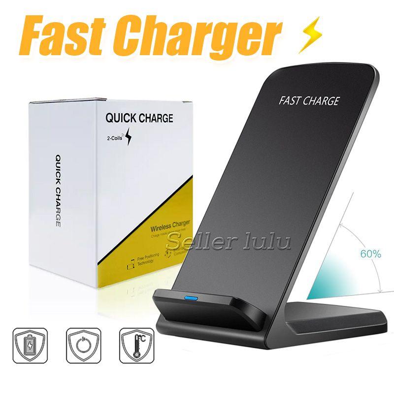 2 bobinas sem fio carregador rápido qi sem fio suporte de carregamento pad para apple iphone x 8 8 plus samsung note 8 s8 todos os qi-enabled smartphone