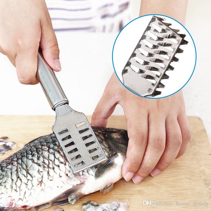 Scraping Fish scale knife Scraper Brush Stainless Steel Fish scaler Skin Remover Scraper creative Kitchen Peeler gadgets accessoriess