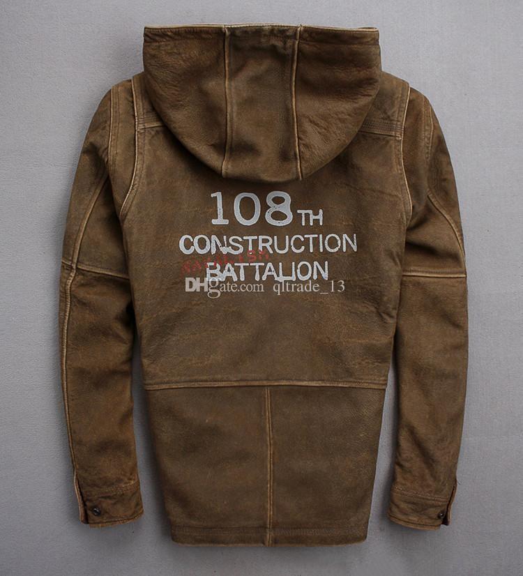 Großhandel Männer Wildleder Schaffell Lederjacken Mit Retro Armband 108. Construction Bataillon Herren Lederjacke Mit Kapuze Von Qltrade_13, $319.8