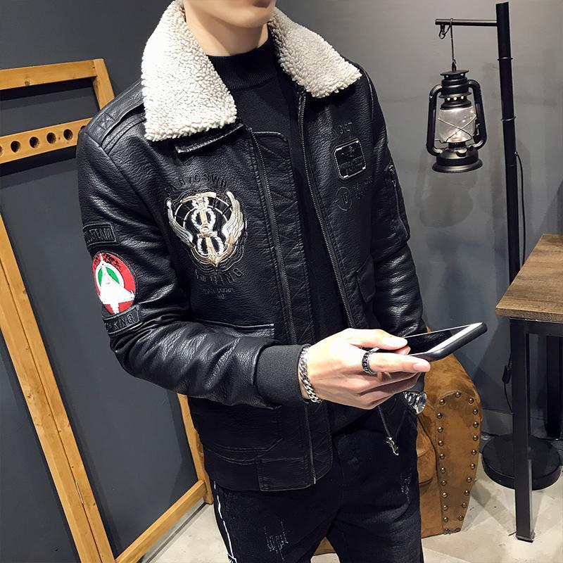 겨울 새로운 기관차 의류 가죽 코트 두꺼워 잘 생긴 가죽 자켓 양고기 모피 칼라 슬림 남성 재킷