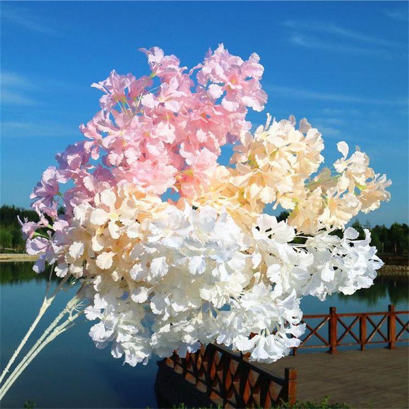 가짜 긴 줄기 복숭아 꽃송이 (4 줄기 / 조각) 웨딩을위한 시뮬레이션 체리 홈 쇼케이스 장식 인공 꽃