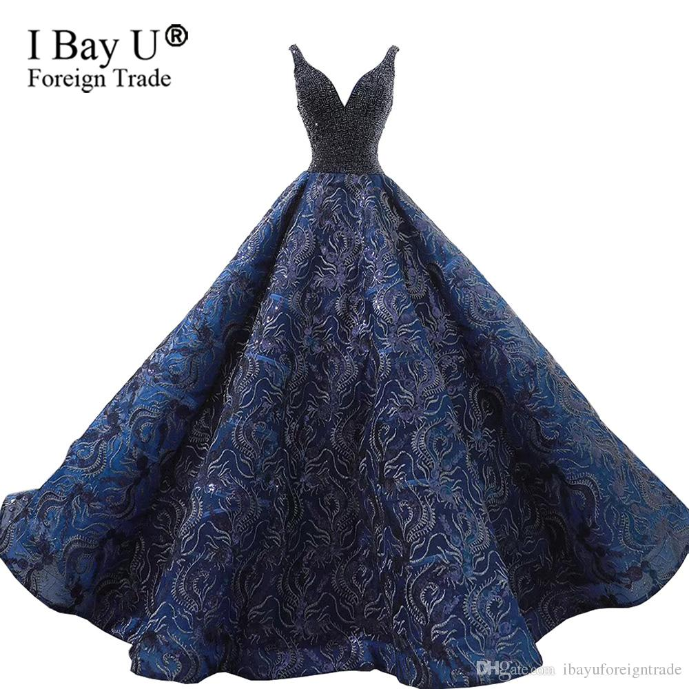 Puffy Navy Blue Wedding Dress Sequined Lace