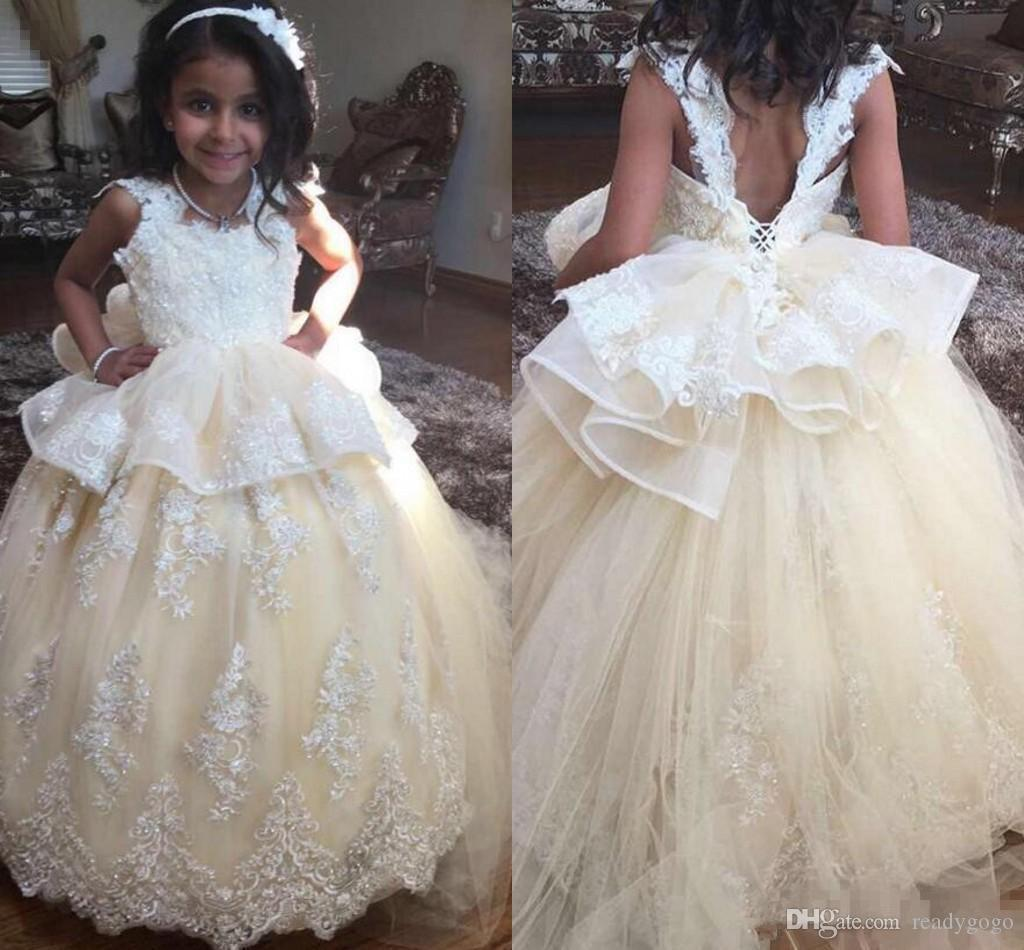 사랑스러운 샴페인 레이스 꽃 소녀 드레스 보헤미안 결혼식 섹시한 열기 백 공주 볼 가운 어린 아이 생일 공동체 가운