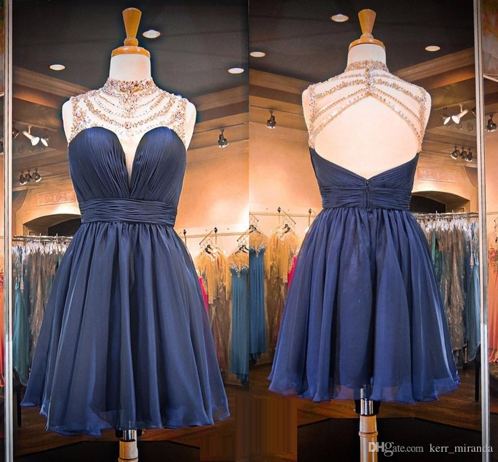 Delicate Navy Blue Party Dresses High Neck Sleeveless Illusion Chiffon Short Open Back Prom Dresses With Beaded Neckline DH1634