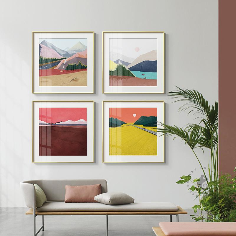 2020 Abstract Colorful Mountains Color Block Canvas Painting