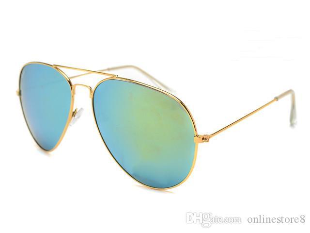 العلامة التجارية مصمم النظارات الكلاسيكية نظارات الشمس للرجال النساء القيادة نظارات uv400 الإطار المعدني فلاش مرآة طلاء العدسات مع مربع