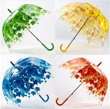 New Style Transparent Mushroom Umbrella Green Leaves Umbrella Arch Parallel Raining Women Umbrellas Orange Yellow Blue