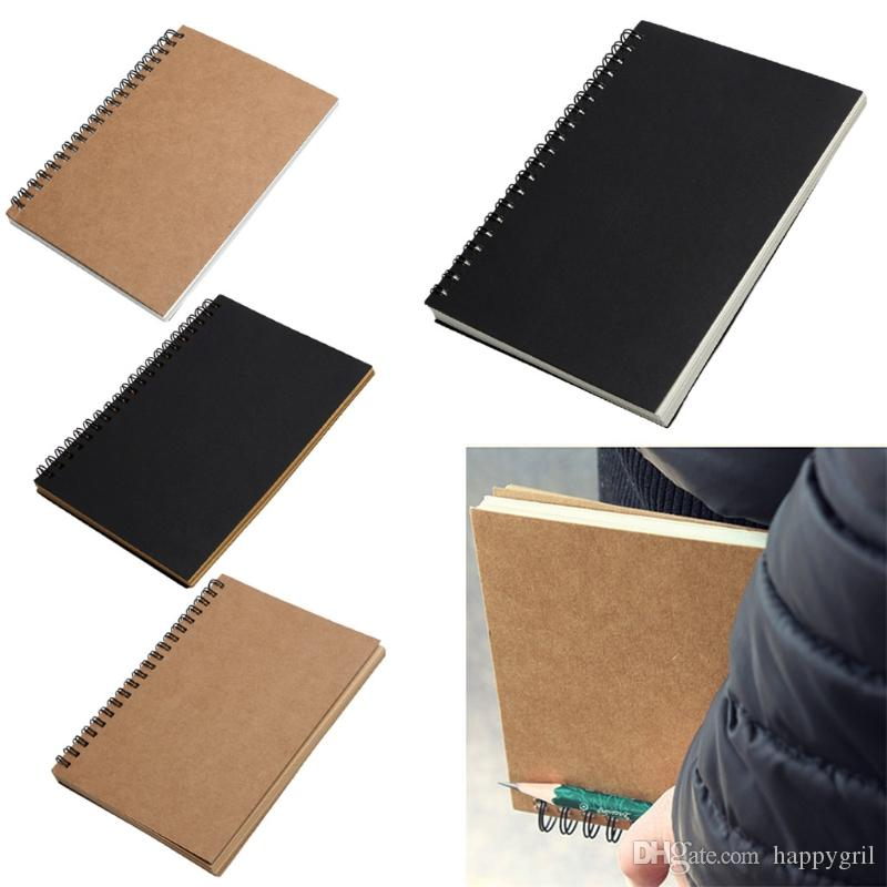 Sketchbook blanco Diario de graffiti Dibujo Pintura del bosquejo del libro de Kraft bobina espiral cuaderno de viaje Journal bricolaje Memo De Oficina