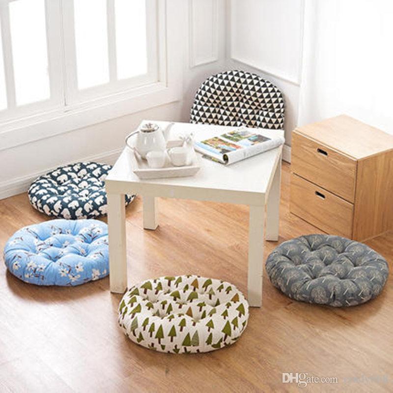 Cotton Linen Round Chair Seat Cushion Thick Sitting Pad Mat Home Decorative Car Seat Cushion Pillow Living Room Sofa Nap Pillow Cushions