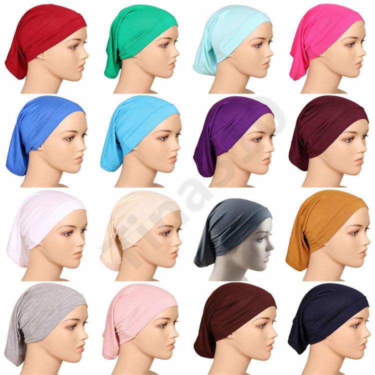 Мусульманские женщины крышка внутренний хиджаб шарфы женщина сплошной цвет равнина Underscarf Cap шарф 20 цветов мерсеризованного хлопка дамы шапки 100 шт.