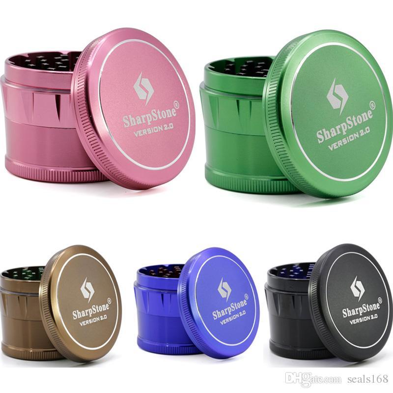 Legierungs-Tabak-rauchende Kraut-Schleifer SHARPSTONE 4 Schicht-Fasen-Kraut-Schleifer-Smok-Filter-Zusätze 63MM 6 färbt DHL-SCHIFF HH7-1436