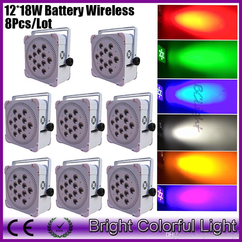 8XLOT Wireless DMX LED Flat Par 12 Pcs 18w RGBAW UV 6in1 LED Battery par Light for DJ wedding party Dhl free shipping