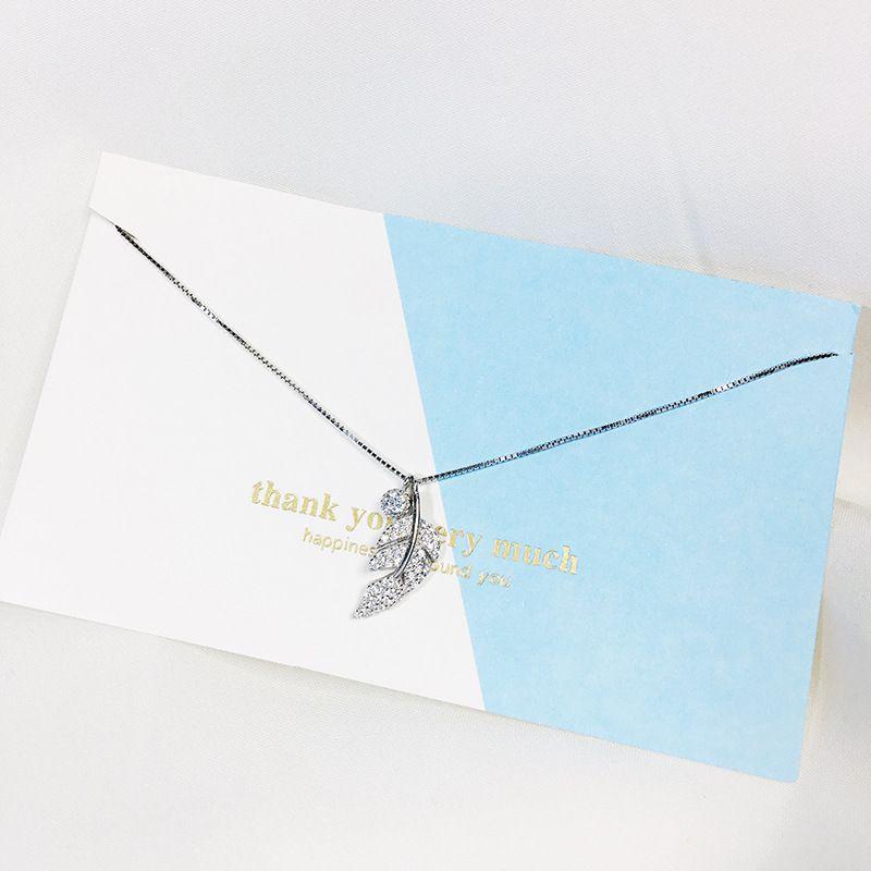 Kadınlar Ücretsiz Nakliye için Gümüş 925 Moda kolye Kolye Tatlı Yaprak Elmas Encrusted Kısa Kolyeler