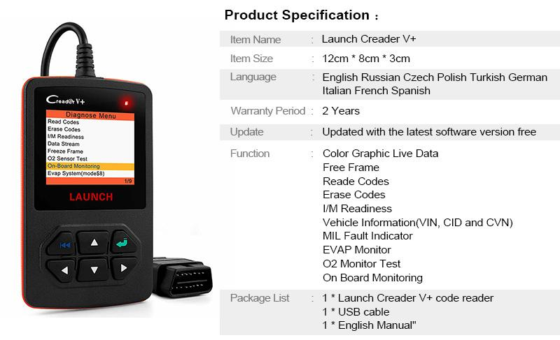 LAUNCH Scanner X431 Creader V+ OBD2 Diagnostic OBD_9